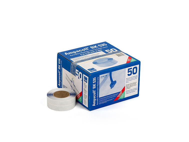 Product photo: Ampacoll BK 535 50 mm short roll, butyl rubber adhesive tape, air- and windtight